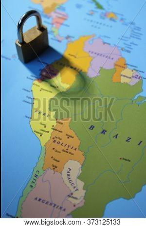 Lockdown Coronavirus Covid-19 Virus Lockdown Concept Padlock Lock Shadow Across South America - Braz