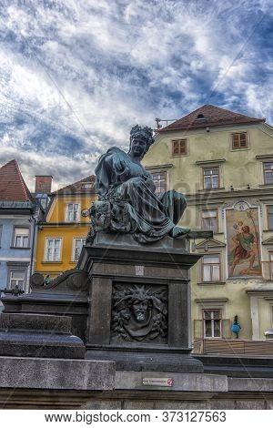 Graz, Austria - 03.01.2018  Archduke Johann Fountain, Allegorical Representation Of The River Sann,