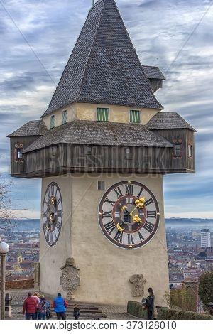 Graz, Austria, 05.01.2018 City Clock Known As Urhturm, Settled On The Top Of The Hill Schlossberg, I