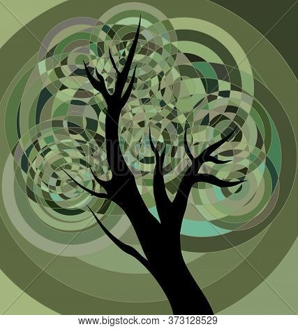 Green Background Image Of The Abstract Autumn Tree