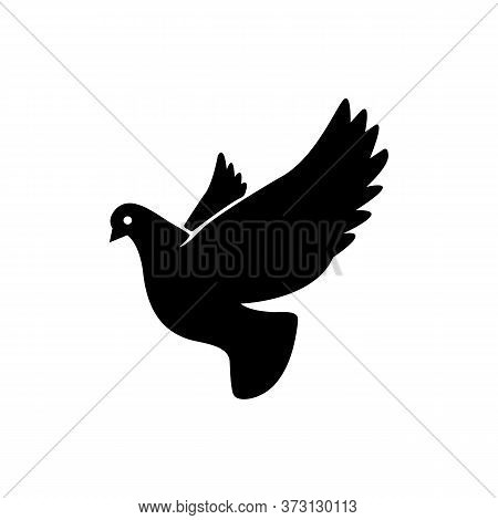 Dove Symbol In Simple Style. Pigeon Icon In Black Vector Eps 10