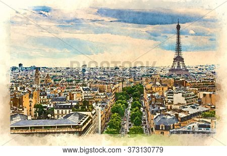 Aerial View Of The Paris Skyline With The Eiffel Tower. Watercolor Style Illustration.
