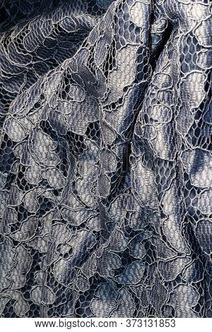 Blue Lace For The Background. Romantic Fabric. Sexual Background.
