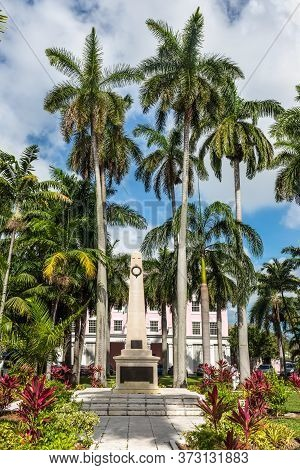 Nassau, Bahamas - May 3, 2019: Pay Tribute To Bahama's War Heroes: A Concrete Monument Honoring The