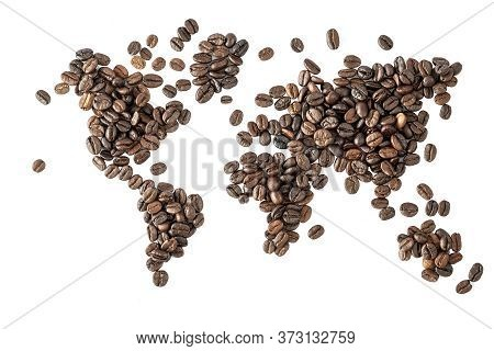 Map Of The World Made Of Roasted Coffee Beans Isolated On White Background. World Of Coffee Conceptu