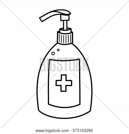 Doodle Outline Of A Hand Sanitiser Bottle, Naive Style Vector Isolated Against A White Background