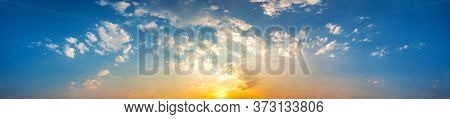 Panorama Of Dramatic Vibrant Color With Beautiful Cloud Of Sunrise And Sunset. Panoramic Image.