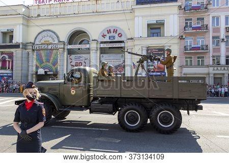 Donetsk, Donetsk People Republic - June 24, 2020: Soviet Military Trucks With Heavy Machine-guns And