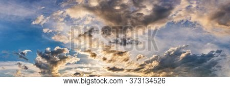 Gorgeous Panorama Scenic Of Sunrise And Sunset With Silver Lining And Cloud In The Morning And Eveni