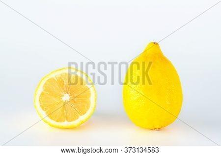 Lemon Fruit Slice Isolated On White Background.