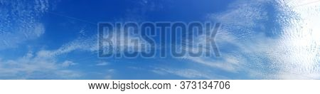 Blue Sky Panorama With Cloud On A Sunny Day. Beautiful 180 Degree Panoramic Image.