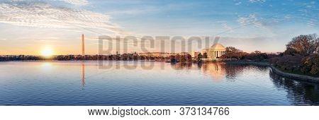 Jefferson Memorial And Washington Monument Reflected On Tidal Basin In The Morning, Washington Dc, U