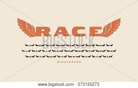 Initial Extended Sans Serif Font With Wings Silhouettes. For Military And Sport Logo, Emblem And T-s