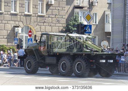 Donetsk, Donetsk People Republic, Ukraine - June 24, 2020: Military Trucks With Launchers For Unmann