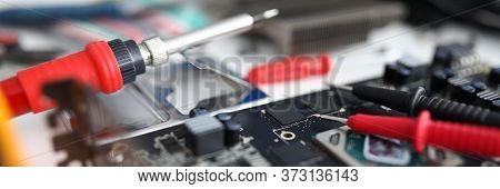 Repair Tools Are On The Electronic Device. Diagnostics Of A Malfunction. Manual Assembly And Repair