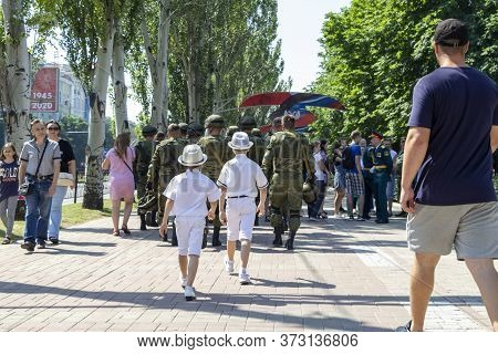 Donetsk, Donetsk People Republic, Ukraine - June 24, 2020: Two Boys In White Festive Clothes And Hat