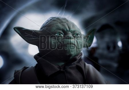 JUNE 21 2020:  Portrait of Jedi Master Yoda from Star Wars in his hut on Dagobah - Empire Strikes Back