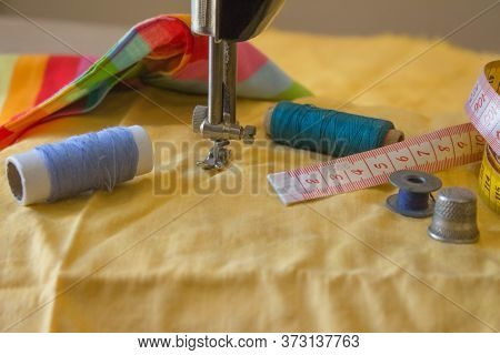 Tailor Workspace With Sewing And Handmade Tools. Tools For Sewing For Hobby. Sewing Kit
