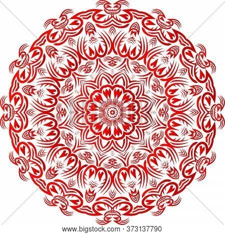 Red Color Floral Mandala Pattern In White Background.