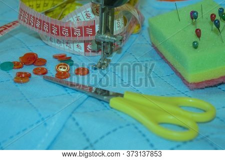 Sewing Still Life. Thread, Needles And Cloth. Scissors And Sewing Kit. Tools For Sewing For Hobby