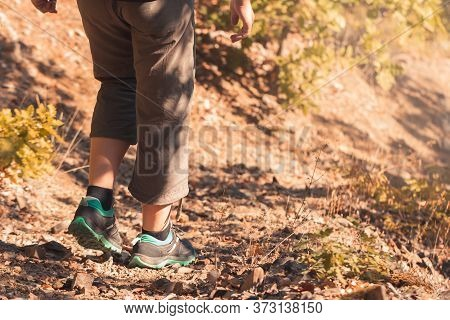 Hiking In Mountains Or Forest With Sport Hiking Shoes. Girl Hiker Walks Along Wild Path In Remote Ar