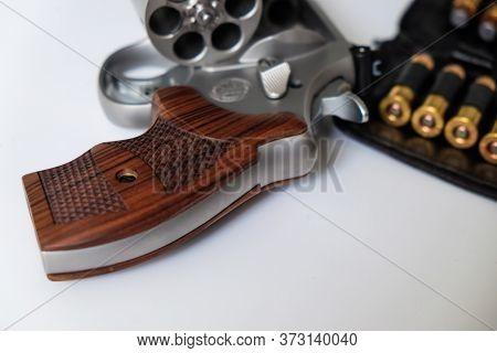 .44 Magnum Revolver Wheel Gun With Jacket Soft Point Bullet