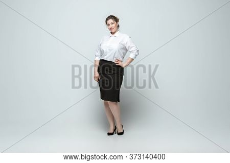Leader. Young Woman In Office Attire. Bodypositive Female Character, Feminism, Loving Herself, Beaut