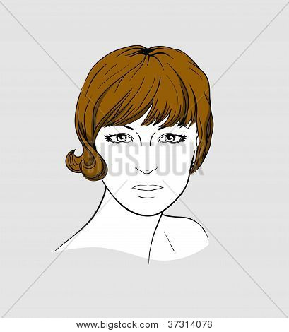 Face of woman with short brown hair