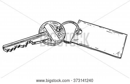 Vector Cartoon Drawing Conceptual Illustration Of Family House Key With Empty Sign.renting, Buying O
