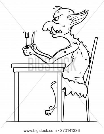Vector Cartoon Stick Figure Drawing Conceptual Illustration Of Virtual Internet Troll Waiting For Th