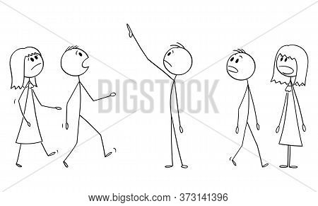 Vector Cartoon Stick Figure Drawing Conceptual Illustration Of Group Or Crowd Of Shocked People Watc
