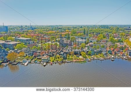 Aerial from the town Zaanstad at the river Zaan in the Netherlands