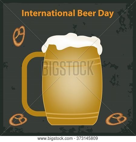 Glass With A Handle, Beer With Foam, Pretzel - Abstract Dark Background - Vector. International Beer