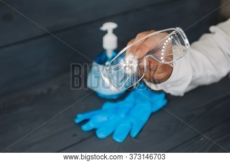 Items For Antiseptics, Hand Treatment And Face Protection Against Covid-19. Antiseptic With Gloves A