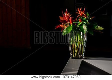 Beautiful Bouquet Of Flowers In A Glass Vase On A Decorative White Stone In A Dark Room Under Bright