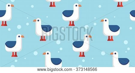 Seamless Pattern With Cartoon Seabird And Bubbles On A Light Blue Background. Cartoon Flat Design Of