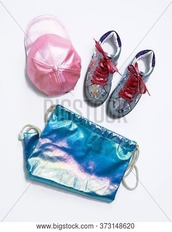 Fashion Creative Sneakers, With Pink Shiny Laces And Silver Sequins, Pink Satin Cap And Shiny Hologr