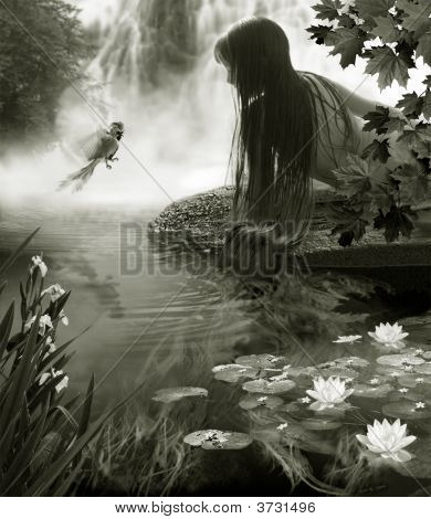 The Girl And Paradise Bird Near By Waterfall.