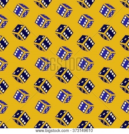Dice Game Pattern On A Yellow Background. Concept For Games, Game Board, Presentation, Banners Or We