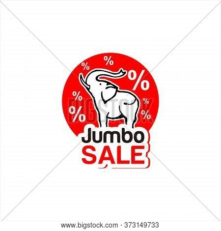 Discount Label Modern Red Jumbo Sale With Elephant Vector Icon For Big Sale Logo Graphic Design Temp
