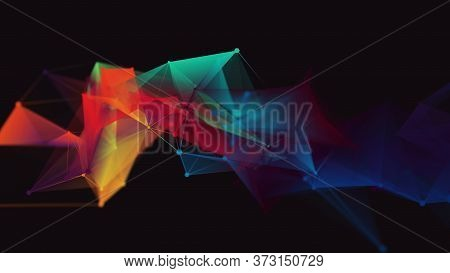 Connection Structure.  Science Background. Futuristic Polygonal Background. Business. Triangular Bac