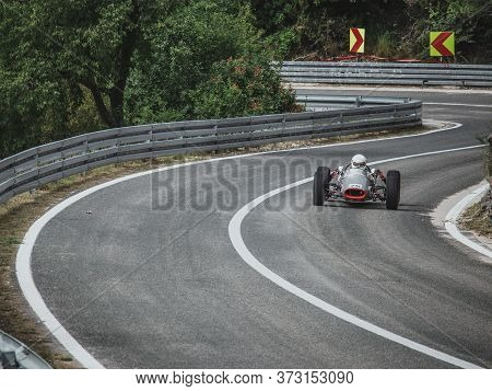 Skradin Croatia, June 2020 Old Timer Silver Formula Race Car Going Uphill On A Hill Climb Championsh