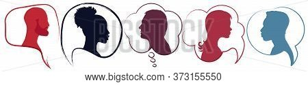 Speech Bubble.diversity People.silhouette Heads People In Profile.talking Dialogue And Inform.commun