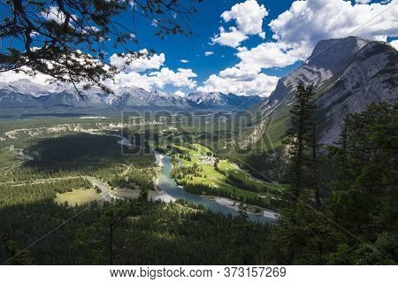 Mount Rundle And Bow River Valley Near Banff, Alberta, Canada, Rocky Mountains
