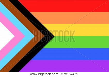 Illustration Of Colorful New Social Justice / Progress Rainbow Pride Flag / Banner Of Lgbtq (lesbian