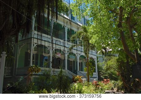 Key West, Florida, Usa - 6th April 2009 : View Of The Beautiful Dr. Joseph Y. Porter House Located I