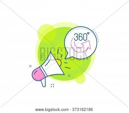 Vr Simulation Sign. Megaphone Promotion Complex Icon. 360 Degrees Line Icon. Panoramic View Symbol.