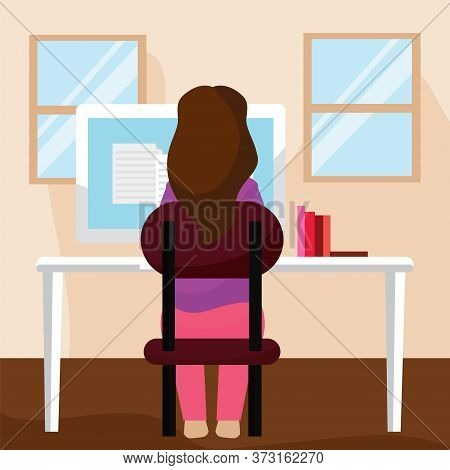 Young Woman Studying In A Workstation. Self Learning - Vector Illustration