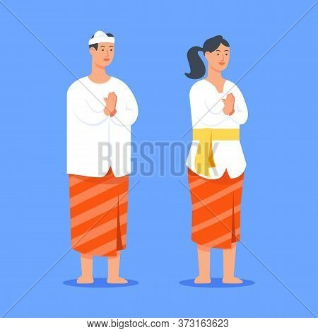 Couple Character Of Bali Hindu. Suitable For Hinduism Theme.