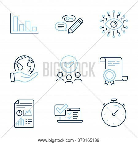 Online Survey, Timer And Report Document Line Icons Set. Diploma Certificate, Save Planet, Group Of